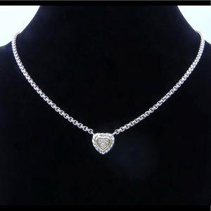 David Yurman Sterling & 18k Diamond Heart Necklace